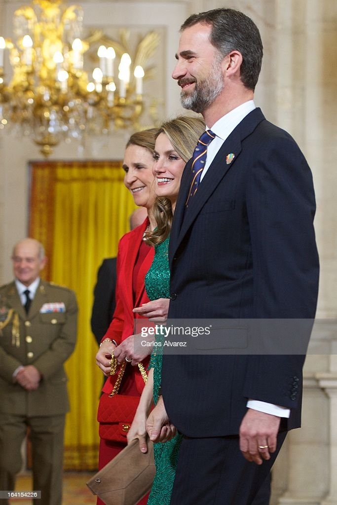 Spanish Royals Princess Elena, Princess Letizia and Prince Felipe receive International Olympic Committee Evaluation Commission Team for a dinner at the Royal Palace on March 20, 2013 in Madrid, Spain.