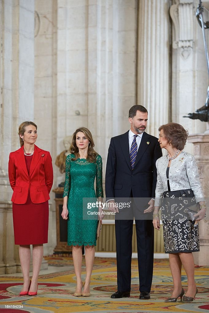 Spanish Royals Princess Elena, Princess Letizia, Prince Felipe and Queen Sofia receive International Olympic Committee Evaluation Commission Team for a dinner at the Royal Palace on March 20, 2013 in Madrid, Spain.