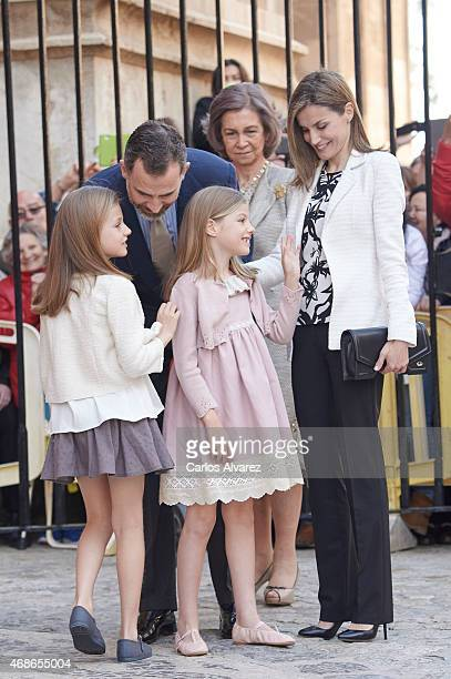 Spanish Royals Princess Leonor of Spain King Felipe VI of Spain Queen Sofia Queen Letizia of Spain and Princess Sofia of Spain attend the Easter Mass...