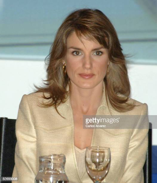 Spanish Royals Princess Letizia attends the 'Castilla La Mancha Bussines Awards' at 'Cuenca Auditorium' on April 26 2005 in Cuenca Spain