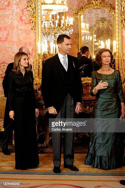Spanish Royals Princess Letizia Prince Felipe and Queen Sofia attend the Foreign Ambassadors reception at The Royal Palace on January 24 2012 in...