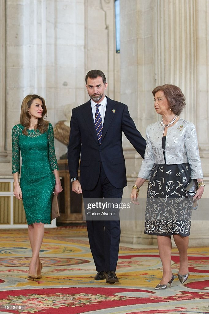 Spanish Royals Princess Letizia, Prince Felipe and Queen Sofia receive International Olympic Committee Evaluation Commission Team for a dinner at the Royal Palace on March 20, 2013 in Madrid, Spain.