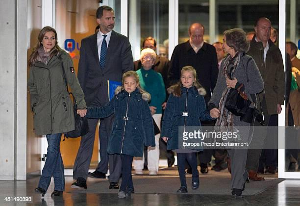 Spanish Royals Princess Letizia Prince Felipe Princess Sofia Princess Leonor and Queen Sofia visit King Juan Carlos of Spain at the Quiron University...
