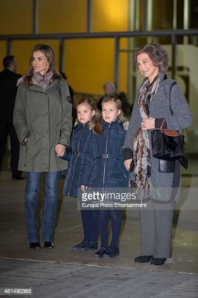 Spanish Royals Princess Letizia Princess Sofia Princess Leonor and Queen Sofia visit King Juan Carlos of Spain at the Quiron University Hospital on...