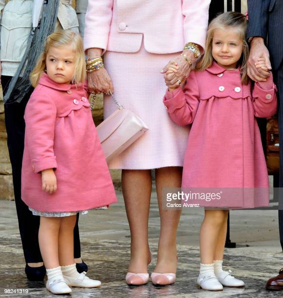 Spanish Royals Princess Sofia and Princess Leonor attend Easter Mass at Palma de Mallorca Cathedral on April 4 2010 in Palma de Mallorca Spain