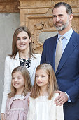 Spanish Royals Queen Letizia of Spain King Felipe VI of Spain Princess Sofia of Spain and Princess Leonor of Spain attend the Easter Mass at the...