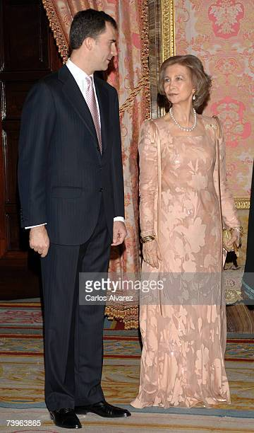 Spanish Royals Queen Sofia and Crown Prince Felipe receive Pakistani President Pervez Musharraf and wife Sehba Musharraf for a Gala Dinner on April...