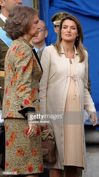 Spanish Royals Queen Sofia and Princess Letizia attend Spain's National Day Military Parade in La Castellana Avenue on October 12 2005 in Madrid...