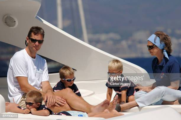 Spanish Royals Queen Sofia her daughter Princess Cristina Inaki Urdangarin and grandsons Juan Pablo and Miguel on board of Somni attend the 24th Copa...