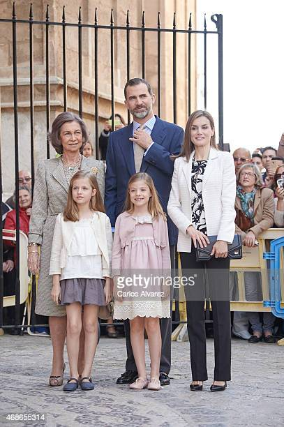Spanish Royals Queen Sofia King Felipe VI of Spain Queen Letizia of Spain Princess Leonor of Spain and Princess Sofia of Spain attend the Easter Mass...