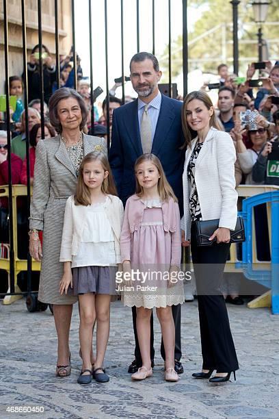 Spanish Royals Queen Sofia King Felipe VI of Spain Queen Letizia of Spain Princess Leonor of Spain and Princess Sofia of Spain attend the Easter Mass...