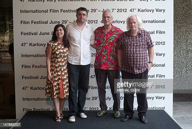 Spanish screenwriter Monica Garcia Massague Spanish director Pere Vila i Barcelo Spanish producer Luis Minarro and Italian actor Lou Castel pose for...