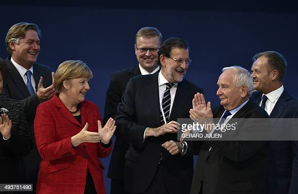Spanish Secretary General of European People's Party Antonio LopezIsturiznewly elected German Chancellor and CDU federal chairwoman Angela Merkel...