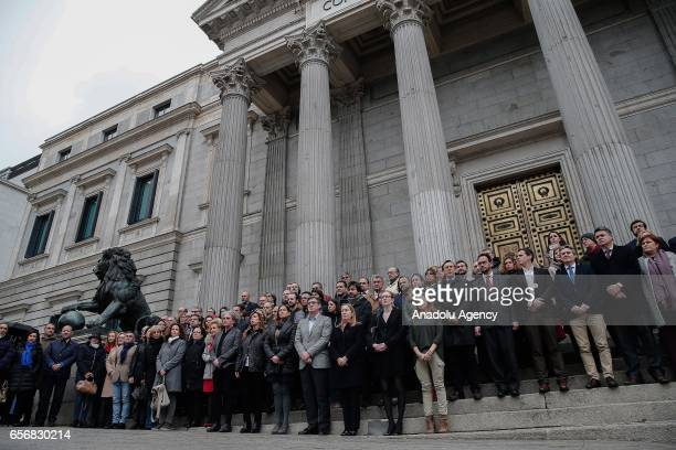 Spanish senators and MP's gather to pay tribute to the victims of terror attack staged at British Parliament yesterday in London on March 23 2017...