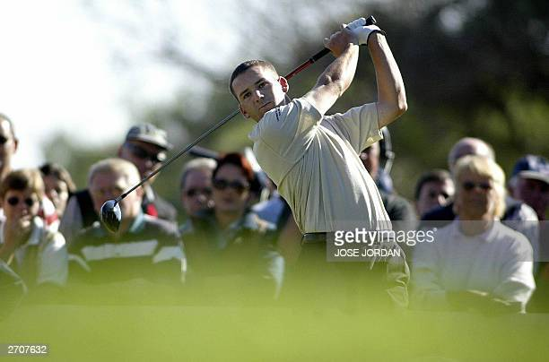 Spanish Sergio Garcia drives during the second day of the Seve Trophy 2003 at the EL Saler golf club in Valencia 07 November 2003AFP PHOTO JOSE JORDAN