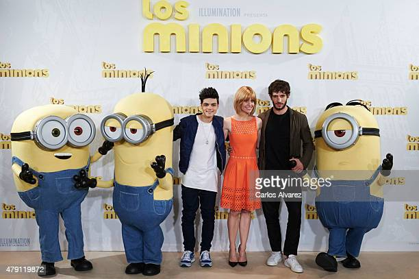 Spanish singer Abraham Mateo and Spanish actors Alexandra Jimenez and Quim Gutierrez attend 'The Minions' photocall at the Hesperia Hotel on July 1...