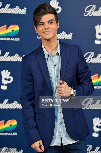 Spanish singer Abraham Mateo attends the 40 Principales Awards 2015 photocall at the Barclaycard Center on December 11 2015 in Madrid Spain
