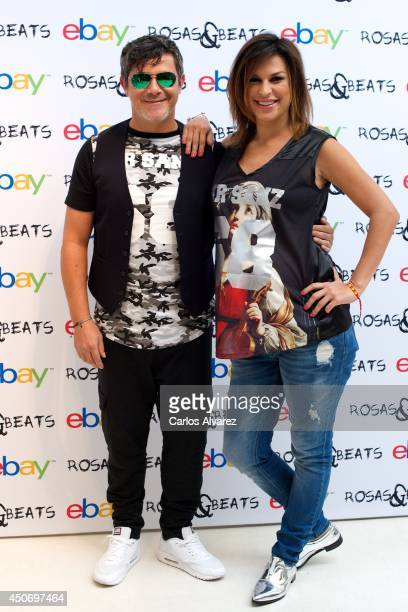 Spanish singer Alejandro Sanz and wife Raquel Perera launch the new Rosas Beats fashion collection on June 16 2014 in Madrid Spain