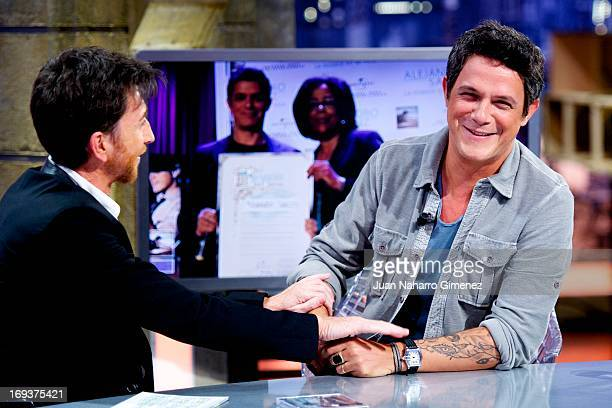 Spanish singer Alejandro Sanz appears on 'El Hormiguero' TV show with Pablo Motos at Vertice Studio on May 23 2013 in Madrid Spain