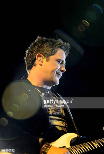 Spanish singer Alejandro Sanz performs on stage at the Palacio de los Deportes on May 5 2010 in Madrid Spain