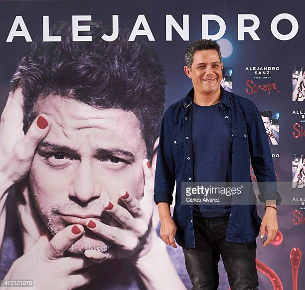 Spanish singer Alejandro Sanz presents his new album 'Sirope' at the Reina Sofia Museum on May 4 2015 in Madrid Spain