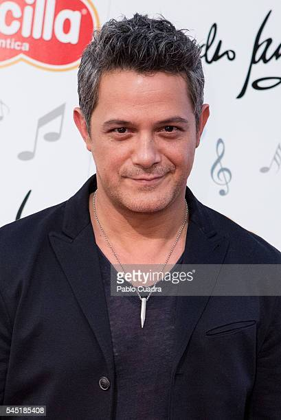 Spanish singer Alejandro Sanz presents the Nocilla New Glasses collection at Las Alhajas Palace on July 6 2016 in Madrid Spain