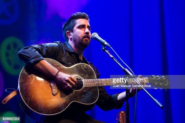 Spanish singer Alex Ubago performs on stage at Campos de Sport Sardinero on August 24 2017 in Santander Spain
