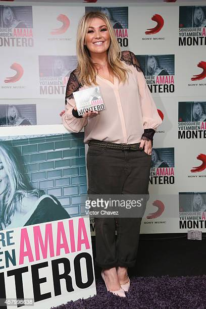 Spanish singer Amaia Montero attends a press conference to promote her new album 'Si Dios Quiere Yo Tambien' at Sony Music on October 28 2014 in...