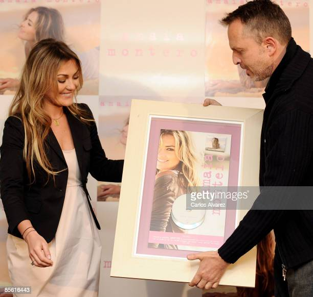 Spanish singer Amaia Montero receives from singer Miguel Bose Double Platinum Disc at the ME Hotel on March 26 2009 in Madrid