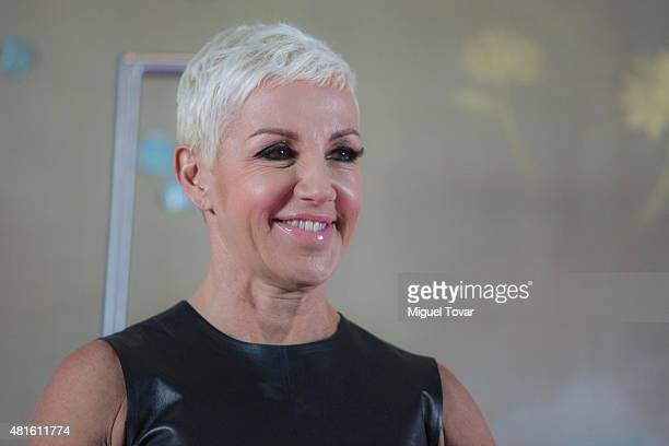 Spanish singer Ana Torroja poses for pictures during a press conference at The St Regis Hotel on July 22 2015 in Mexico City Mexico