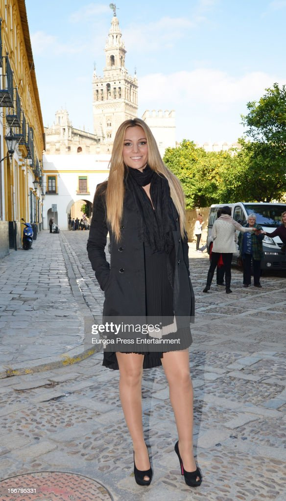 Spanish singer and actress and Manchester United goalkeeper David de Gea's girlfriend, <a gi-track='captionPersonalityLinkClicked' href=/galleries/search?phrase=Edurne&family=editorial&specificpeople=649428 ng-click='$event.stopPropagation()'>Edurne</a> presents 'Grease' musical on November 20, 2012 in Seville, Spain.