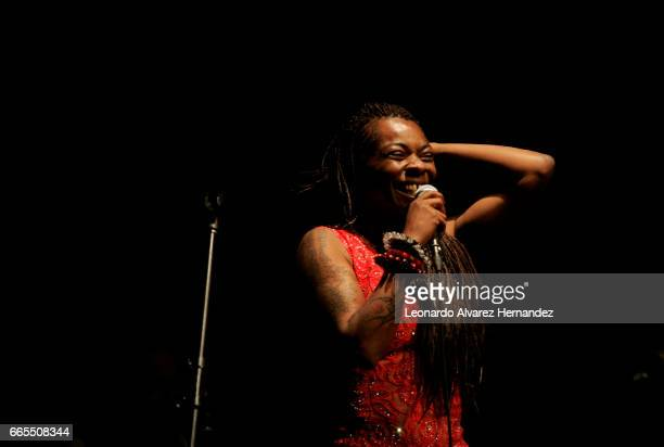 Spanish singer Buika performs during a show as par of her tour 'Para Mi' at Teatro Diana on April 04 2017 in Guadalajara Mexico