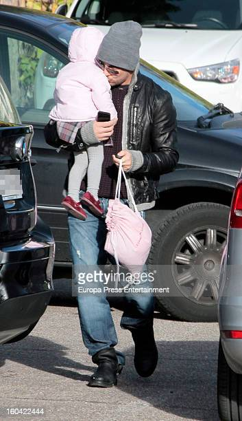 Spanish singer David Bisbal and daughter Ella Bisbal are seen on January 30 2013 in Madrid Spain