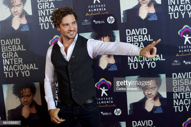 Spanish singer David Bisbal presents his new 'Tu y Yo' 2014 International Tour at the Circulo de Bellas Artes on January 23 2014 in Madrid Spain