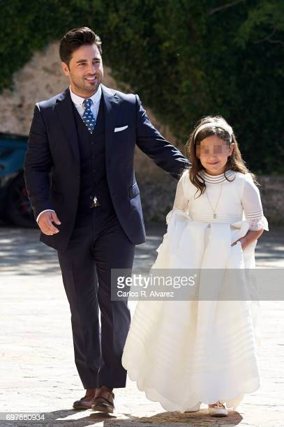 Spanish singer David Bustamante and his daughter Daniella Bustamante attend Daniella Bustamante First Communion at the Nuestra Senora de los Angeles...