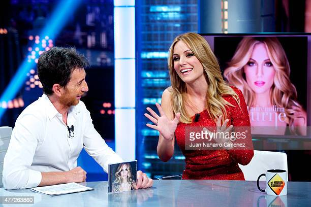 Spanish singer Edurne and Pablo Motos attend 'El Hormiguero' Tv show at Vertice Studio on June 15 2015 in Madrid Spain