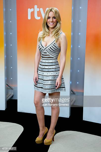 Spanish singer Edurne attends a press conference before Eurovision Gala at Torrespana on May 13 2015 in Madrid Spain