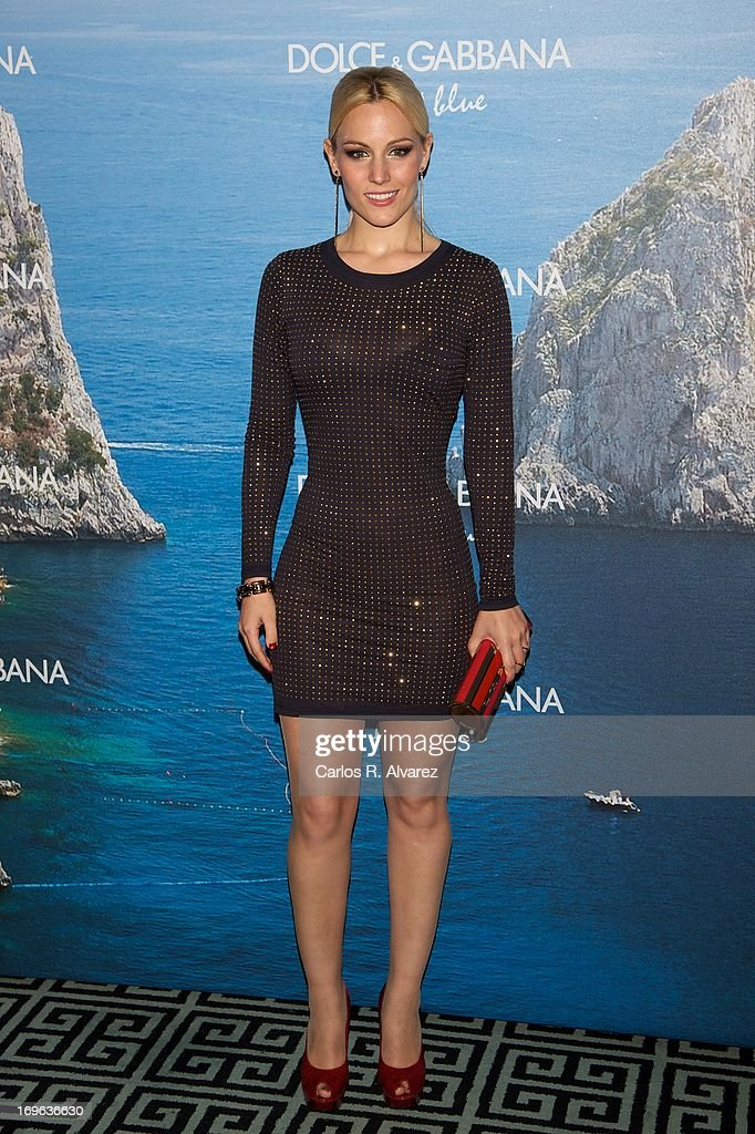 Spanish singer Edurne attends Mediterranean Summer Cocktail By Dolce & Gabbana at the Santo Mauro Hotel on May 29, 2013 in Madrid, Spain.