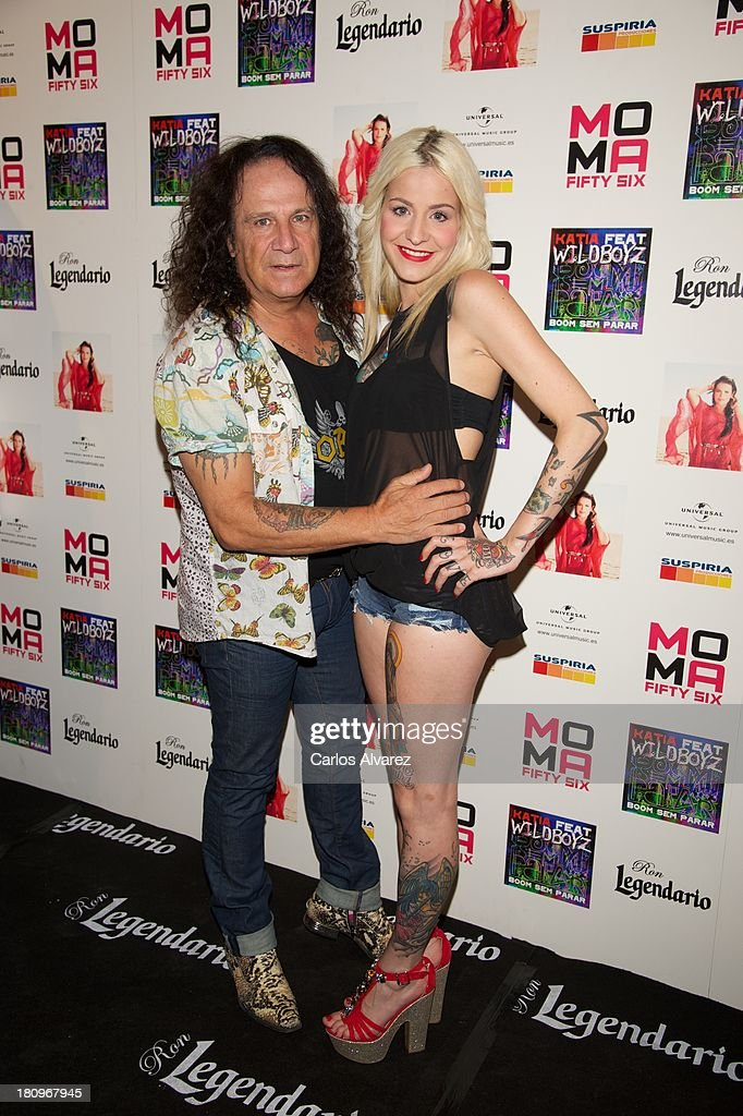 Spanish singer Fructuoso Sanchez 'Fortu' and his daugther Ariadna Sanchez attend the presentation of new album 'Feat Wildboyz' at the MOMA Club on September 18, 2013 in Madrid, Spain.