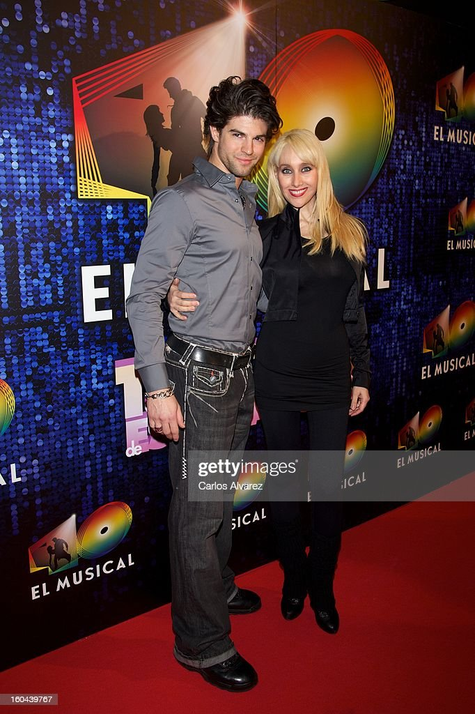 Spanish singer Geraldine Larrosa 'Innocence' (R) attends '40 El Musical' premiere at the Rialto Theater on January 31, 2013 in Madrid, Spain.