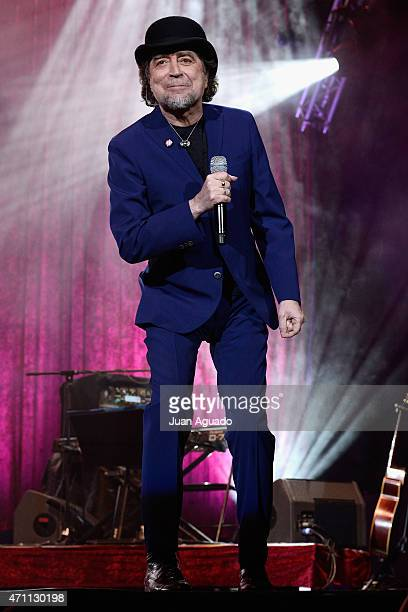 Spanish singer Joaquin Sabina performs on stage at Barclaycard Center on April 25 2015 in Madrid Spain