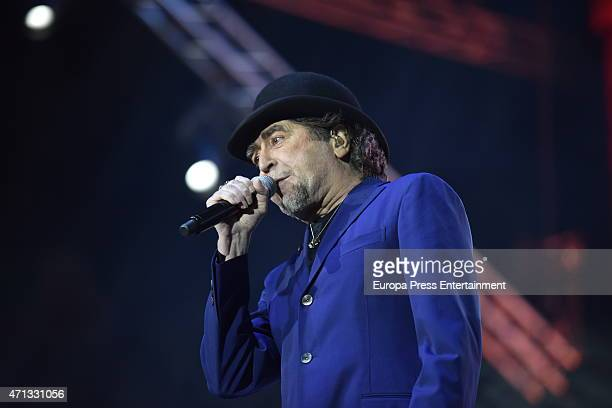 Spanish singer Joaquin Sabina performs on stage on April 25 2015 in Madrid Spain