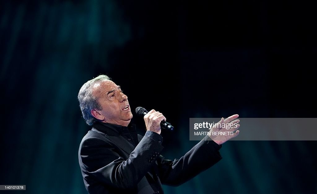 Spanish singer Jose Luis Perales performance during the 53nd Vina del Mar International Song Festival on February 27, 2012 in Vina del Mar, Chile . AFP PHOTO/MARTIN BERNETTI