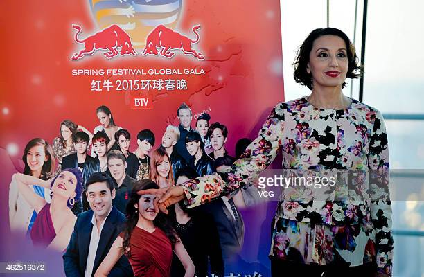 Spanish singer Luz Casal attends the Red Bull 2015 BTV Spring Festival Global Gala press conference at Press Room on the 41th storeies of Beijing...
