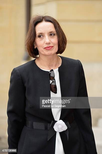 Spanish singer Luz Casal is seen in the courtyard of the Hotel Matignon on June 3 2015 in Paris France King Felipe VI of Spain and Queen Letizia of...