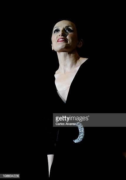 Spanish singer Luz Casal performs on stage at 'Madrid Arena' on February 4 2011 in Madrid Spain