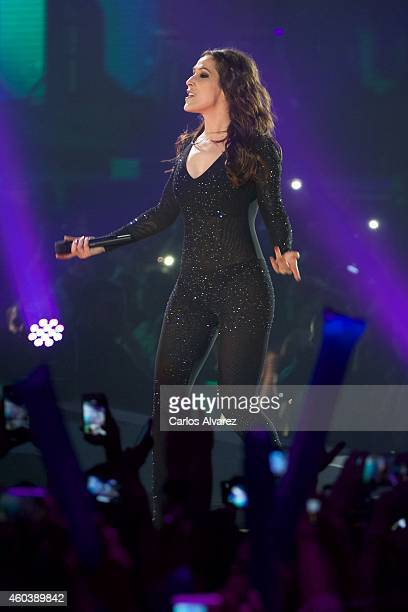 Spanish singer Malu performs on stage during the '40 Principales' awards 2013 ceremony at the Barclaycard Center on December 12 2014 in Madrid Spain