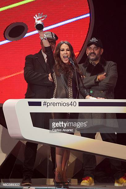 Spanish singer Malu receives an 40 Principales award during the '40 Principales' awards 2013 ceremony at the Barclaycard Center on December 12 2014...