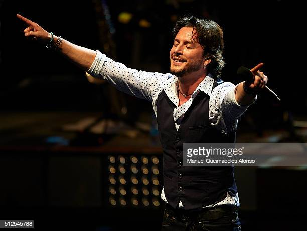 Spanish singer Manuel Carrasco performs in concert at the Palau de les Arts on February 26 2016 in Valencia Spain