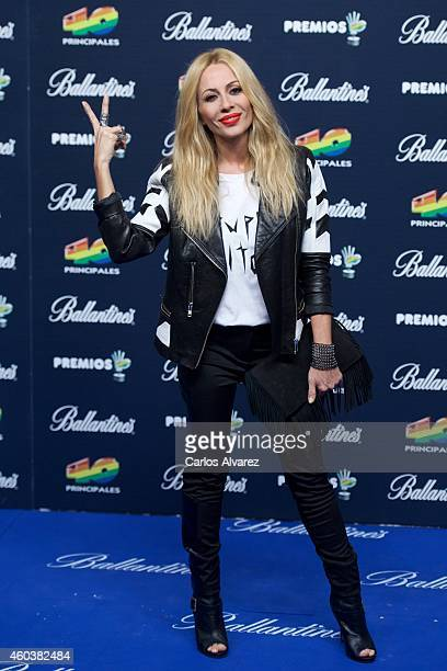 Spanish singer Marta Sanchez attends the 40 Principales Awards 2014 photocall at the Barclaycard Center on December 12 2014 in Madrid Spain